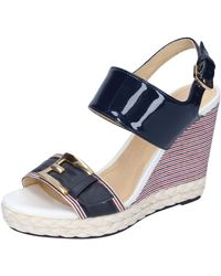 Geox Patent Leather Blue Heeled-sandals 5 Uk