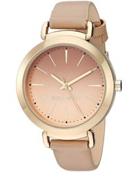 Nine West Nw/2288gptn Gold-tone And Tan Strap Watch - Metallic