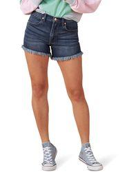 Wrangler Womens High Rise Stretch Denim Shorts - Blue