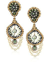 Miguel Ases - Small Cascading Chain Dangles Briolette-shaped Swarovski Post Drop Earrings, Moss Green - Lyst