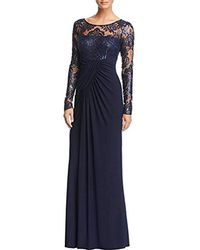 Eliza J - Long Sleeve Gown With Front Gathering - Lyst
