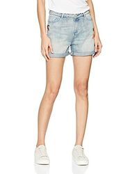 Scotch & Soda Friend Fit Shorts with Destroyed Flower Embroideries - Blu