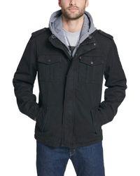 Levi's Washed Cotton Hooded Military Jacket,Black,Large - Nero