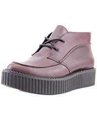 Clarks Rockn Ankle Burgundy Leather Platform Oxford Uk6/eu39.5 - Purple