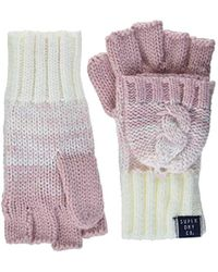 Superdry Clarrie Cable Mittens Gloves - Pink