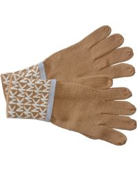 Michael Kors S Gloves Mk Logo Knit Cuffed Gloves Camel One Size - Brown