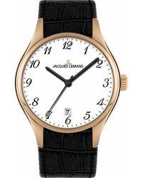 Jacques Lemans 1424H - Montre - Quartz - Analogique - Bracelet Cuir - Noir