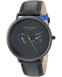 Ted Baker 'brad' Quartz Stainless Steel And Leather Casual Watch - Black
