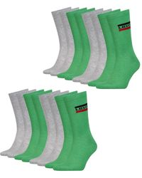 Levi's Socken Regular Cut 168SF Soft Cotton Comfort 10 Paar Sprtswr Logo - Grün