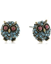 "Betsey Johnson - ""betsey's Delicates"" Pave Owl Stud Earrings - Lyst"
