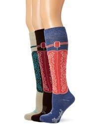 Wrangler Ladies Wild West Boot Socks 3 Pair Pack - Blue