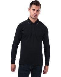 Ben Sherman Mens Mens Long Sleeve Pique Polo Shirt In Black - L