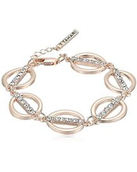 T Tahari - S Essentials Linked Ovals Bracelet, Rose Gold, One Size - Lyst