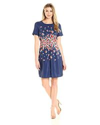 Lark & Ro - Short Sleeve Center Gather Fit And Flare Dress - Lyst