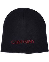 Calvin Klein Classic Beanie Gorro de Punto para Hombre - Azul
