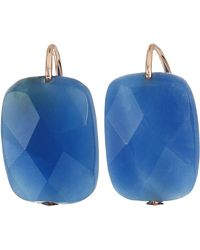 ALEX AND ANI Quartz Denim Gemstone Earrings 14kt Rose Gold Plated One Size - Blau