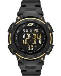 Skechers Ruhland Quartz Plastic And Pu Digital Watch Color: Black