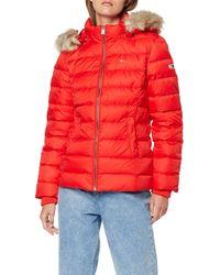 Tommy Hilfiger Essential Hooded Down Jacket Chaqueta, - Rojo