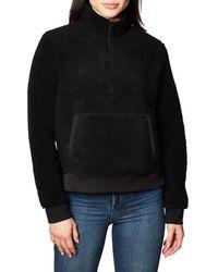 Calvin Klein Sherpa Mock Neck Zip Suéter - Negro