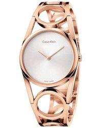 Calvin Klein Reloj Analogico para Mujer de Cuarzo con Correa en Acero Inoxidable K5U2S646 - Naranja