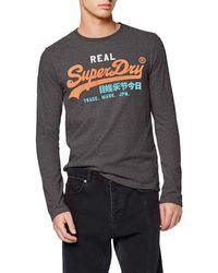 Superdry VL Desert L/s Tee T-Shirt À ches Longues - Gris