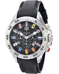 Nautica N16553g Stainless Steel Watch With Black Band