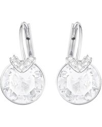Swarovski Bella Drop Pierced Earrings With Round White Crystals And Matching Pavé On A Rhodium Plated Setting With A Lever Back Closure