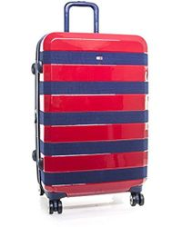 "Tommy Hilfiger Rugby Stripe 24"" Spinner, Hardside Luggage - Red"