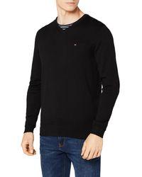 Tommy Hilfiger Core Cotton-Silk Vneck suéter - Negro