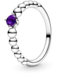 PANDORA Solitär Jahresring 925_Sterling_Silber mit '- Ringgröße 52 198867C03-52 - Lila