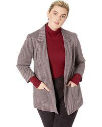 Nine West Plus Size Notch Collar Kiss Front Jacket W/two Pockets - Multicolor