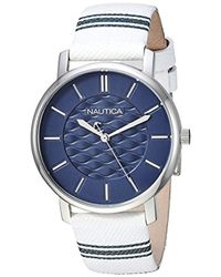 Nautica - 'coral Gables' Quartz Stainless Steel And Nylon Casual Watch, Color:white (model: Napcgs002) - Lyst