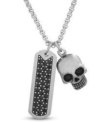 """Steve Madden 26"""" Stainless Steel Black Crystal Bar Skull Necklace For"""