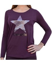 Converse T-Shirt iche Lunghe Donna Viola Glitter Viola L
