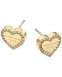 Michael Kors Gold Tone Signature Heart Stud Earrings - Metallic