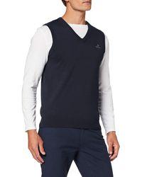 GANT Classic Cotton Slipover Jumper - Blue
