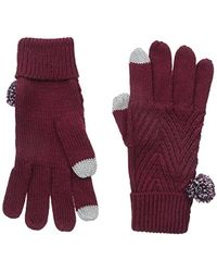 Keds Knit Gloves With Pom - Red