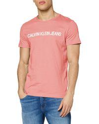 Calvin Klein Institutional Logo Slim SS Tee T-Shirt - Rosa