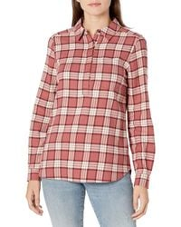 Goodthreads Brushed Flannel Popover Shirt Button-Down - Rouge