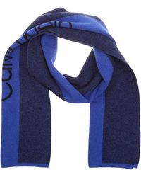 Calvin Klein Knit Logo Scarf Echarpe - Bleu