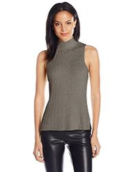 Kensie - Cotton Blend Sleeveless Mock Neck Sweater Shell - Lyst