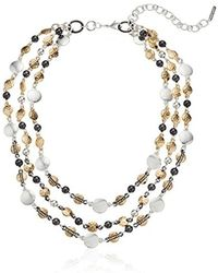 """Nine West - Tri-tone And Crystal 16"""" Collar Necklace - Lyst"""