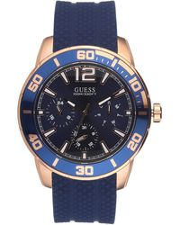 Guess W1250g2 Rose Gold Tone Blue Silicone Band Multifunction Blue Dial Watch