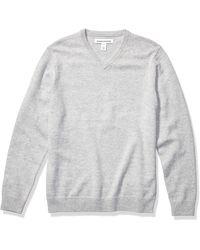 Amazon Essentials Midweight V-Neck Sweater Pullover-Sweaters - Grigio