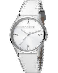 Esprit Analog Quarz Uhr mit Leder Armband ES1L032L0015 - Mettallic