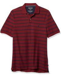 Nautica Classic Fit Stripe Deck Polo - Rosso