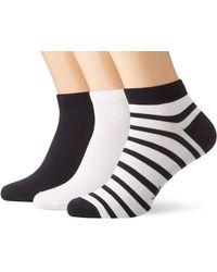 Falke Sneakersocken 3er Set Happy - 85% Baumwolle, 3 Paar, Schwarz (Light Grey/Black 10), Größe: 43-46 - Blau