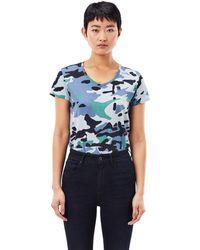 G-Star RAW - Allover Camo Print V-Neck T-Shirt - Lyst