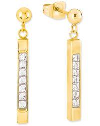 S.oliver Ohrhänger Edelstahl teilvergoldet Kristall weiß - Mettallic
