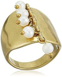 Lucky Brand - S Gold Pearl Ring, 7 - Lyst